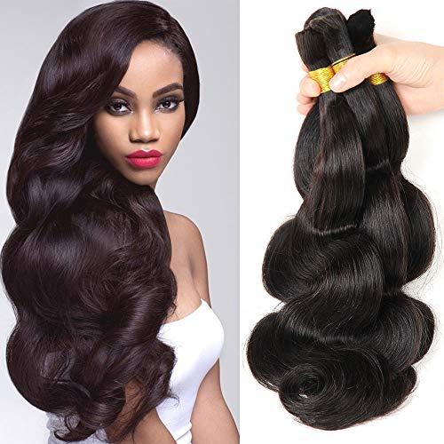 Hannah product Human Hair For Micro Braids Bulk Hair No Weft Brazilian Natural Black Body Wave Human Bulk Hair 3 Bundles 150g Brazilian (18 20 22 Natural Black #1B)