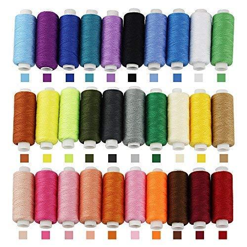 Zeagro Hilo de Coser de poli/éster para m/áquina de Coser 30 Hilos de Colores Surtidos