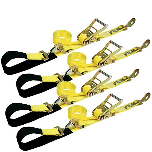 VULCAN Classic Yellow Series 1-Ply Flexible Axle Tie Down Combo Strap w/Snap Hook Ratchet (2 x 114 Pack of 4) Safe Working Load - 3,300 lbs