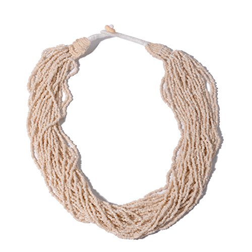 Shop LC Delivering Joy Cream Seed Bead Multi Strand Necklace for Women Jewelry Gift with Fabric Toggle Clasp 22