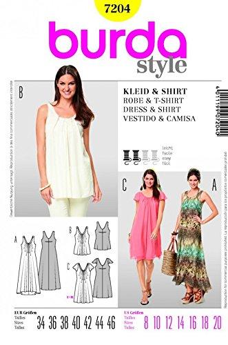 Burda 7204 Damen Nähmuster-Katalog Kleider und T-Shirts, Größe 8 bis ...