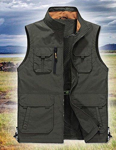Colore Colore Colore Gilet di Maniche Nuovo Nuovo Nuovo Casual Giubbotto Abbigliamento Alpinismo Casual JBHURF Grande Esterno Dimensioni Spessore Giacca più Tasche 8 Tasca Senza Multi XL Kaki Cachi PvR8q8w