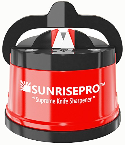 SunrisePro Best Kitchen Knife Sharpener For Straight And Serrated Knives, Hands-Free, Safe For Family, Required No Skills, Perfect Gift, US patented, Original, Red