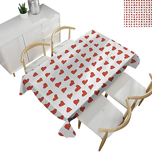Romantic,Party Table Cloth Heart Pattern Lovers Valentines Day Cute Honeymoon Kids Girls Doodle Design Table Cover for Outdoor and Indoor Orange White 54