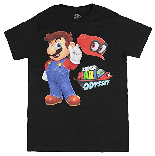 Bioworld Super Mario Odyssey Men's Mario with Cappy Hat T-Shirt (XX-Large) Black