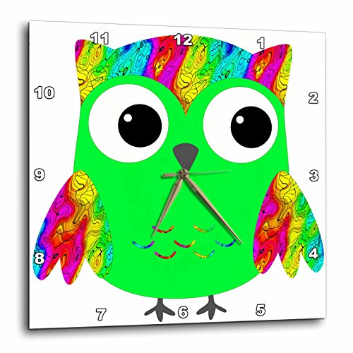 Psychedelic and Neon Green Sixties Owls Wall Clock