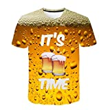 HTHJSCO Unisex Cool Tops Blouse, Men Women 3D Graphic Printed Casual Pullover Hooded Sweatshirt Coat Outwear (Beer Printed, XXXL)