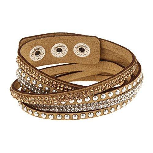 Womens Leather Wrap Bracelet (Womens Wrap Leather Bangle Charm Winter Leather Statement Bracelet)