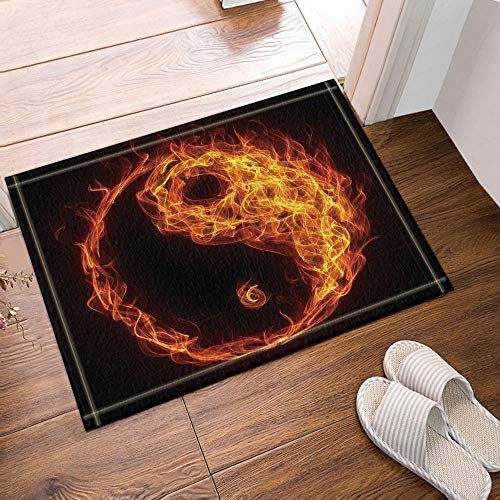 Towel Warmer Taiji (Burnning Fire Like Taiji Chinese Symbol Bath Rugs Non-Slip Doormat Floor Entryways Outdoor Indoor Front Door Mat Kids Bathroom Accessories)