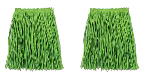 Beistle S54581-GAZ2 Adult Mini Hula Skirt 2 Piece, Green