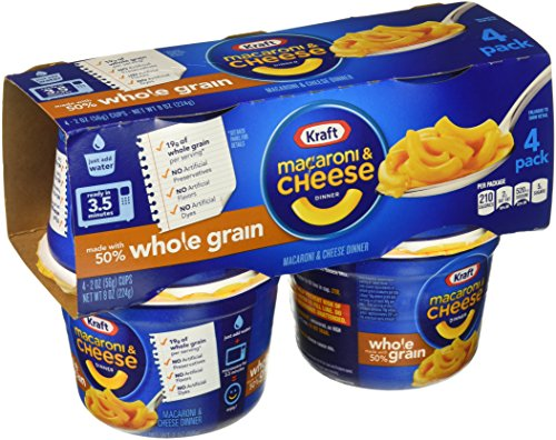 Kraft Whole Grain Macaroni & Cheese Cups (8 oz Box, Pack of 4)