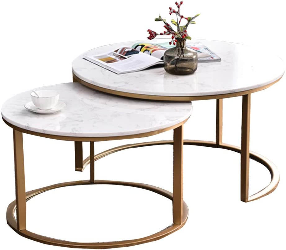 Dxjni Nordic Wrought Iron Coffee Table Set Marble Table Top Small Living Room Round Two Piece Coffee Tables Amazon Co Uk Kitchen Home