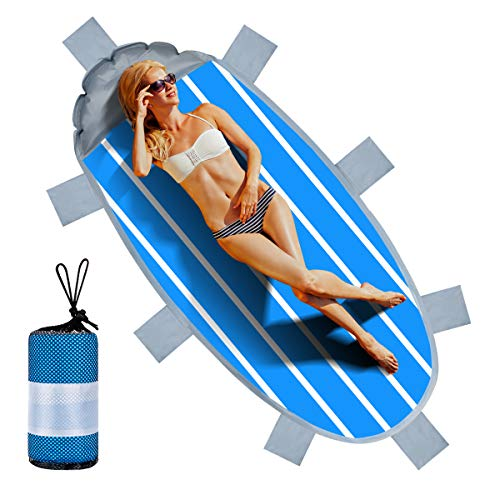 Sandless Beach Blanket with Inflatable Pillow, Handy Beach Mats Outdoor Picnic Blanket for Travel, Camping, Hiking ()
