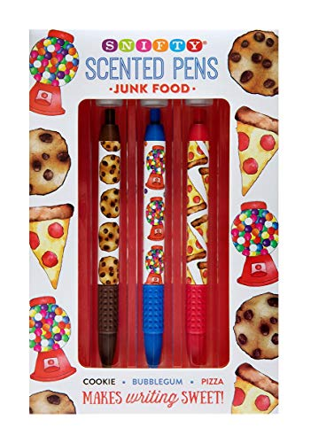 (Junk Food Themed Scented Pens, 3-Pack - Cookie, Bubblegum, Pizza)
