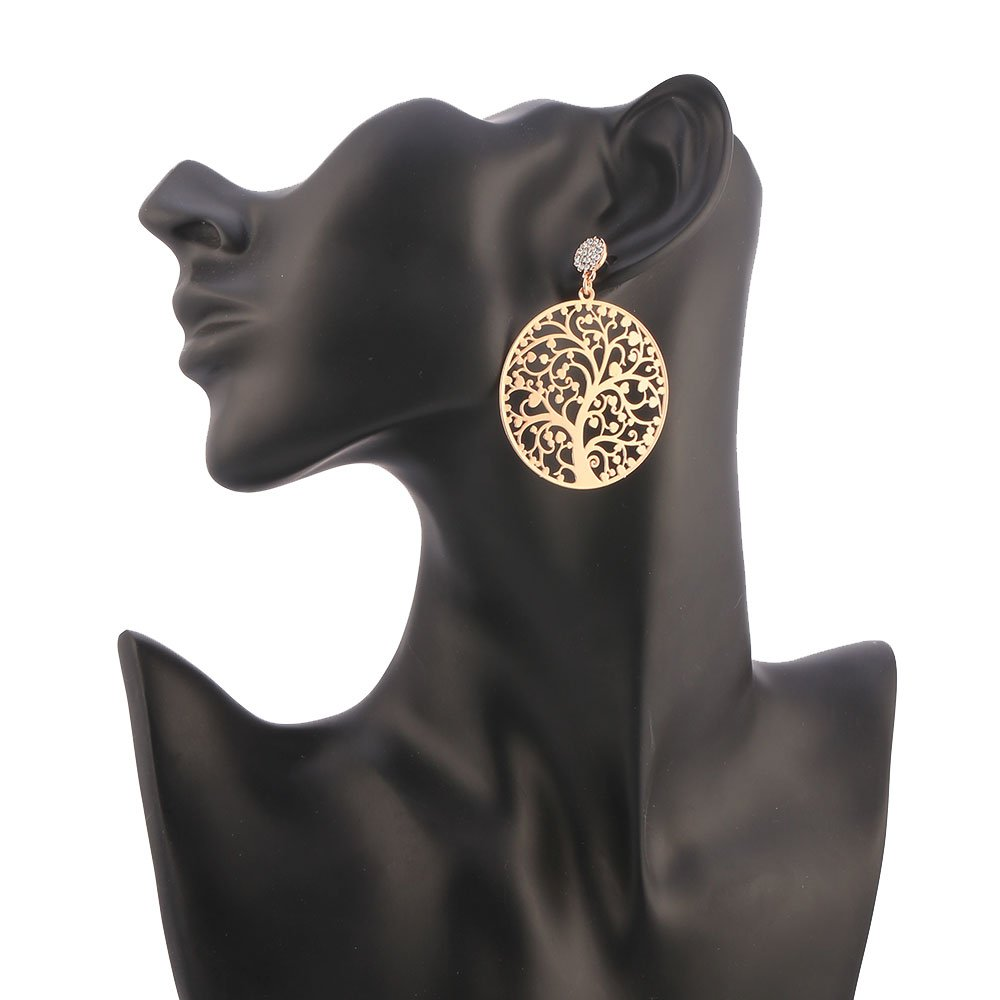 Dangle Earring for Women,Tree of Life Stud Earring with CZ Girls Rose Gold Drop Earring