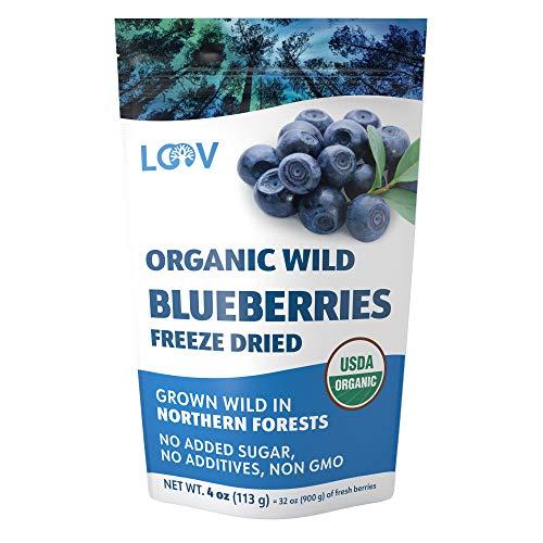Arándanos silvestres orgánicos secos, sin azúcar añadido, 113 g, arándanos liofilizados cosechados en bosques nórdicos, arándanos silvestres 100% de fruta entera, sin aditivos, sin OMG