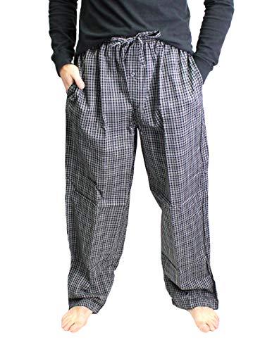 Fruit of the Loom Men's Woven Pajama Pant (Black Plaid, X-Large)