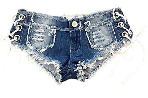 Soojun Women's Low Rise Side Straps Cheeky Mini Denim Shorts Clubwear, US 6-8, Style 2 (Mini Booty Shorts Women)