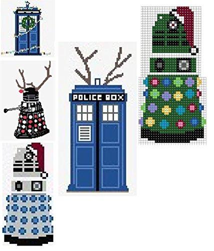 Perler Bead Patterns Christmas.Amazon Com Christmas Tardis Doctor Who Inspired Fan Art