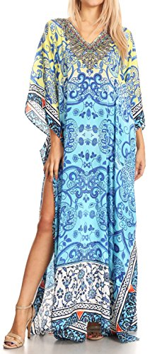 Sakkas P39 - Anahi Flowy Design V Neck Long Caftan Dress/Cover Up with Rhinestone - 17184-Yellow/Blue - OS ()