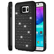 Fosmon (HYBO-SD) Samsung Galaxy Note 5 Case (Star Diamond Design) Dual Layer Hybrid Protective Cover for Galaxy Note 5 - Fosmon Retail Packaging (Black)