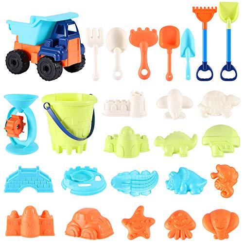 Beach Sand Toys For Kids – 31 PCS Sand Castle Toys for Beach, Snow Toys Sandbox Toys with Truck, Water Wheel, Sand…