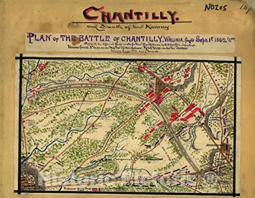 Historic 1862 Map | Plan of The Battle of Chantilly, Virginia. Fought Septr. 1st 1862, 5 to 10 PM. 44in x 34in
