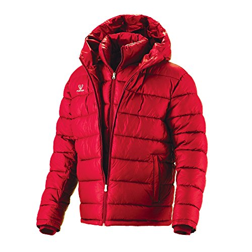 Fuerza Mens Winter Down Wellon Collection Hooded Double Layer Parka Jacket Red (Medium)