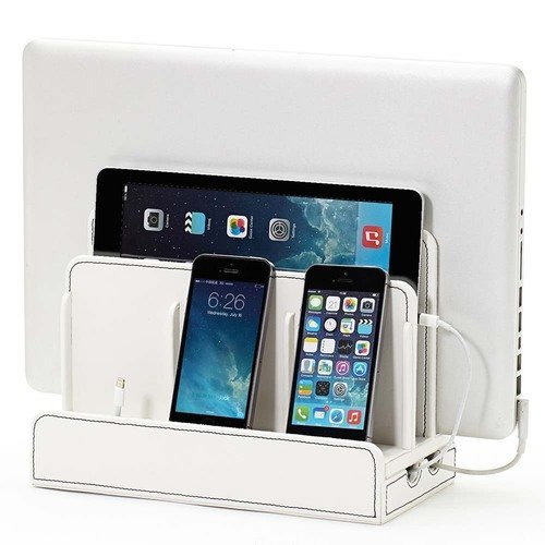 G.U.S. Multi-Device Charging Station Dock & Organizer - Multiple Finishes Available. For Laptops, Tablets, and Phones - Strong Build, White Leatherette