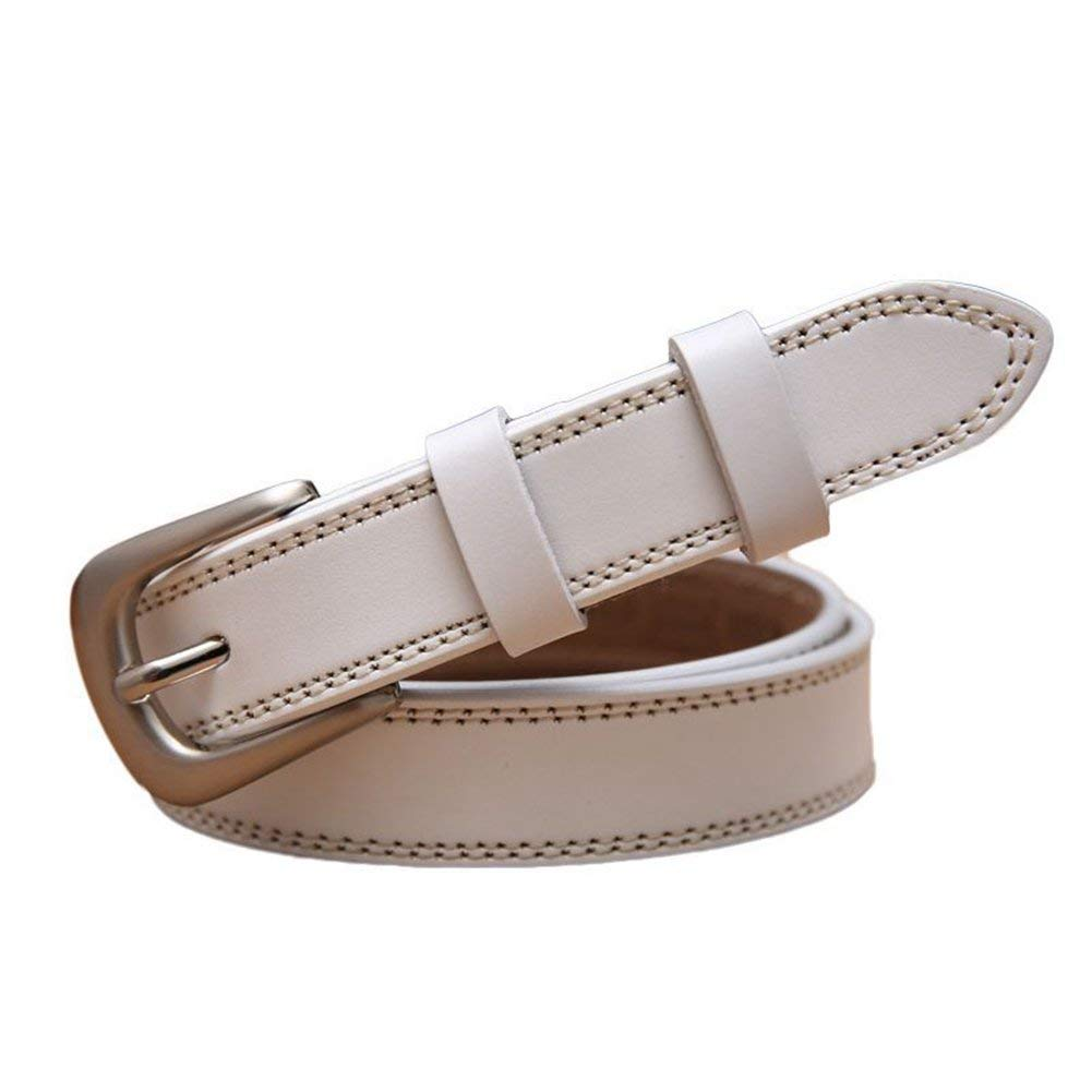 WHXYAA Women's belt ladies belt Women's cowhide leather belt  The first layer of leather  0.96 Wide (color   White)