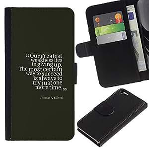 Supergiant (Success Edison Vintage Quote Inspiring) Dibujo PU billetera de cuero Funda Case Caso de la piel de la bolsa protectora Para Apple (4.7 inches!!!) iPhone 6