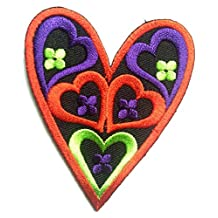 Iron on patches - heart love - red - 6.2x7.9cm - Application Embroided patch badges
