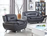 Black Compact design Modern style Living In Style Sophie 2 Piece Loveseat and Chair Set