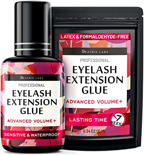 Eyelash Extension Glue - Individual Lash Adhesive Supplies - 10ml Durable Use - Black Glue for Professionals - Latex Free, Waterproof, Quick & Strong - 2-Seconds Dry Time & Long-Lasting Time