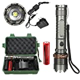 Portable Adjustable Focus Light Strobe Flashlight, 8000 Lumens T6 LED Torch Zoomable Tactical Flashlight + 18650 Charger Box (8000 lumens)