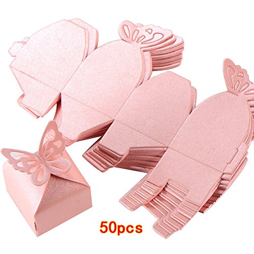 Kslong 50pcs Boutique Butterfly Candy Box Decoration Dragees Wedding Gift Favor Boxes (Pink) ()