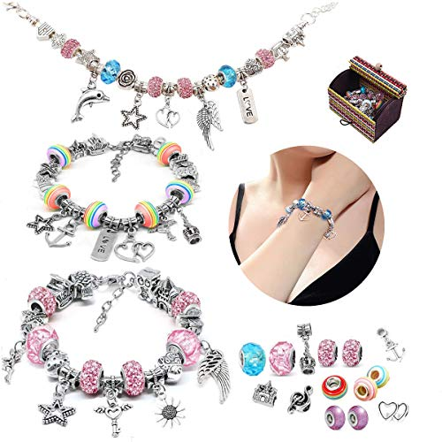 Bracelet Making Kit, 56pcs DIY Jewelry Making Kit with 3pc Silver Plated Bracelets Chains - Charm Bracelets for Girls Teen Kids, Great Christmas Birthday Welcome Handmade Craft Gift