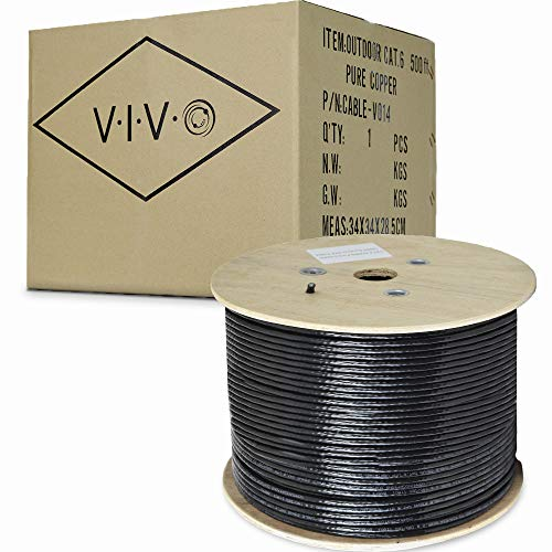 (VIVO Black Full Copper 500 ft Cat6 Ethernet Cable 23 AWG/Wire 500ft Cat-6 Waterproof Outdoor/Direct Burial/Underground (CABLE-V014))