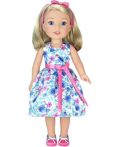 14.5 Inch Doll Dress with Shoes by Sophia's | Satin Floral Party Dress, Hair Bow & Shoes Fits American Girl Wellie Wishers Dolls | 14.5 In Doll 3 Piece Set American Girl Floral Dress