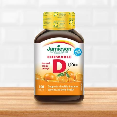 Jamieson Natural Tangy Orange Chewable Vitamin D 1000IU 100 tablets