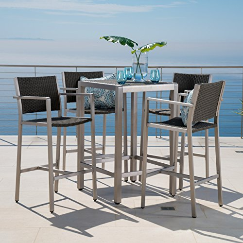 Crested Bay Patio Furniture 5 Piece Outdoor Wicker and Aluminum (Large Image)