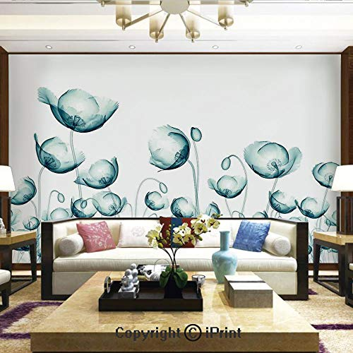 Nature Wall Photo Decoration Removable & Reusable Wallpaper,X ray Picture of Poppy Flowers in a Windy Day Unusual Look into The Nature Art,Home Decor - 100x144 inches
