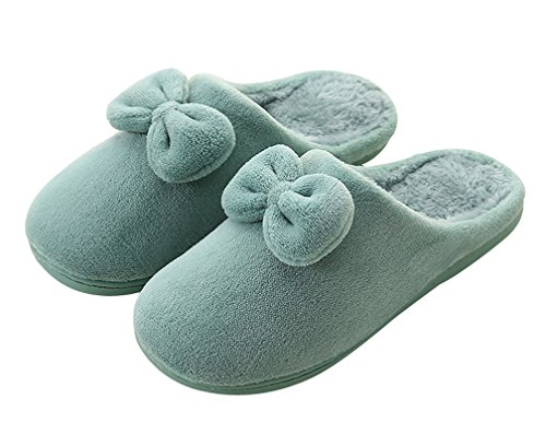 Cattior Womens Coral Bow Warm Slippers House Indoor Bedroom Slippers Blue oocsIXAg7g