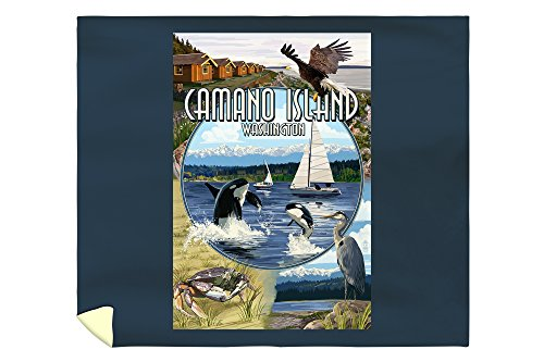 Camano Island, Washington - Montage (88x104 King Microfiber Duvet Cover) (Crate Barrel Duvet)