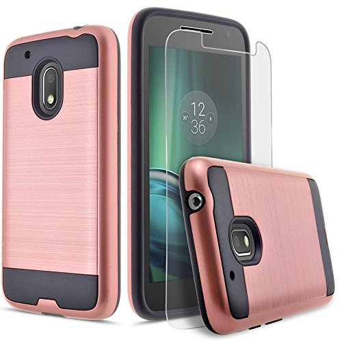 Moto G4 Play Case, Moto G Play Case, Moto E3 Case, Dual Layers Phone Cover Bundled with [HD Premium Screen Protector] Hybird Shockproof And Circlemalls Stylus Pen (Rose Gold)