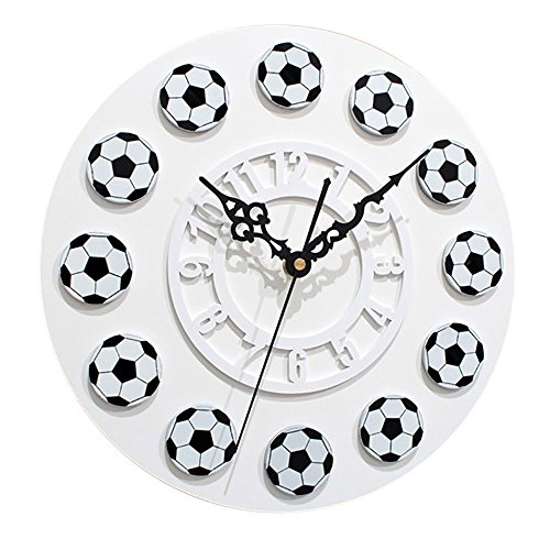 Giulot Football Soccer Wall Clock for World Cup Fans,Hipster Round Acrylic Wall Clock, Silent Non Ticking Oil Painting Home Office School Decorative Clock Art 18