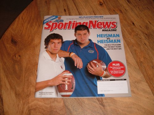 Tim Tebow, University of Florida & Sam Bradford, University of Oklahoma-Heisman Trophy Candidates-Sporting News Magazine, January 5, 2009 issue.