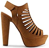 Marco Republic Milan Peep Toe Velcro Closure Slingback Ankle Strap Cut Out Platform Chunky Stacked Heels Sandals Pumps - (Tan) - 11
