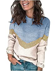 raillery Women's Casual Long Sleeves Crew Neck Striped Print Knit Sweater Loose Comfy Pullover Tops