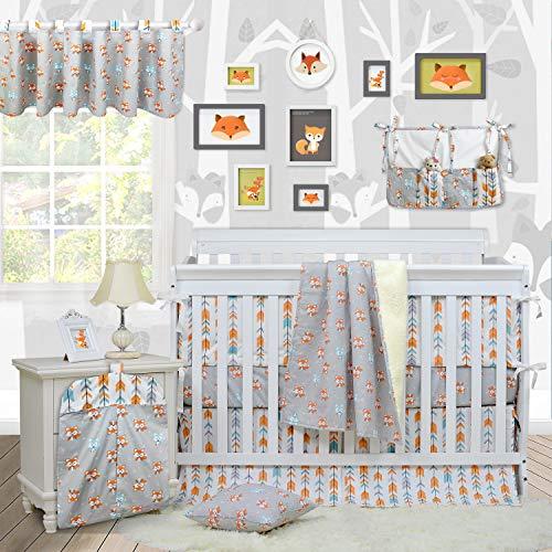 (Brandream Woodland Crib Bedding Sets for Boys with Bumpers, Fox Arrow Baby Girl Nursery Bedding,Unisex,11 Pieces, 100% Hypoallergenic Cotton)